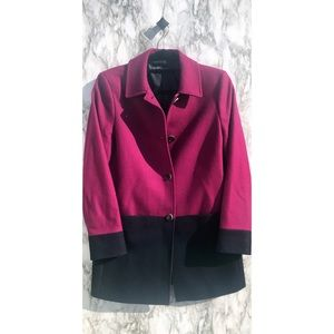 Brooks brothers Colorblock pink and navy wool coat